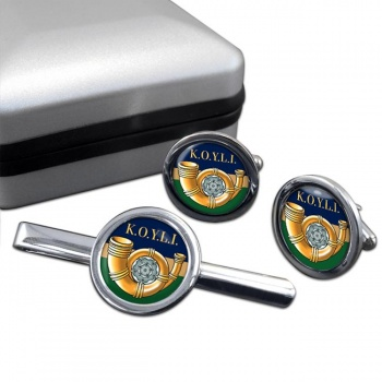 King's Own Yorkshire Light Infantry (British Army) Round Cufflink and Tie Clip Set