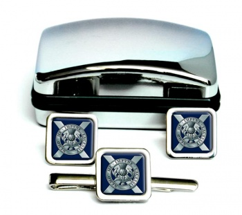Lowland Band of the Scottish Division (British Army) Square Cufflink and Tie Clip Set