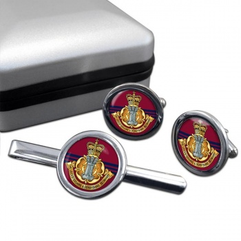 Leicestershire and Derbyshire Yeomanry Round Cufflink and Tie Clip Set