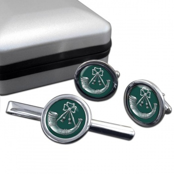 Light Infantry (British Army) Round Cufflink and Tie Clip Set