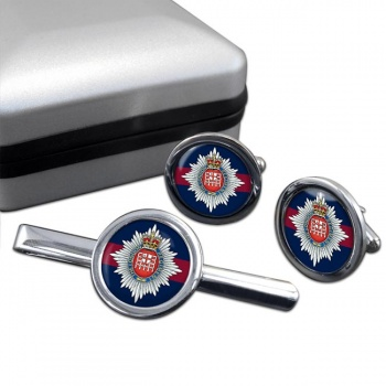 London Regiment Round Cufflink and Tie Clip Set