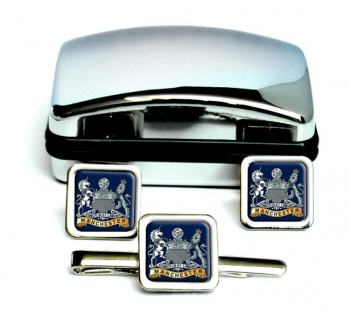 Manchester Regiment (British Army) Square Cufflink and Tie Clip Set