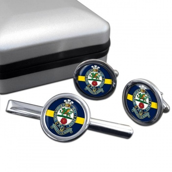 Princess of Wales Royal Regiment Round Cufflink and Tie Clip Set