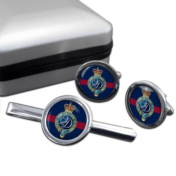 Queen's  Division (British Army) Round Cufflink and Tie Clip Set