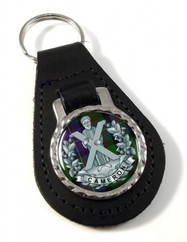 Queens Own Cameron Highlanders Leather Key Fob