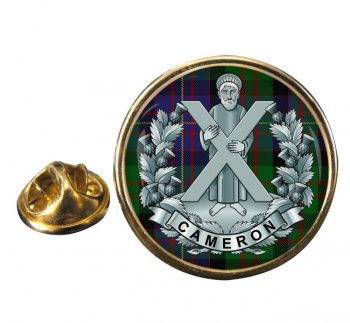 Queens Own Cameron Highlanders Round Pin Badge