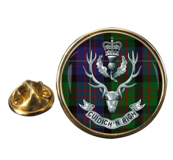Queens Own  Highlanders (British Army) Round Pin Badge