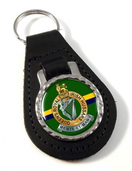 Queen's Royal Irish  Hussars (British Army) Leather Key Fob