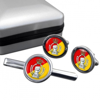 RAC - The Royal Armoured  Corps (British Army) Round Cufflink and Tie Clip Set