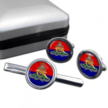 Royal Artillery (British Army) Round Cufflink and Tie Clip Set