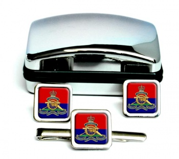 Royal Artillery (British Army) Square Cufflink and Tie Clip Set
