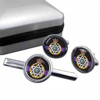 Royal Army Chaplains' Department (Jewish) Round Cufflink and Tie Clip Set