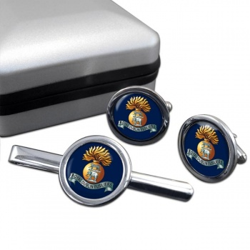 Royal Dublin Fusiliers (British Army) Round Cufflink and Tie Clip Set