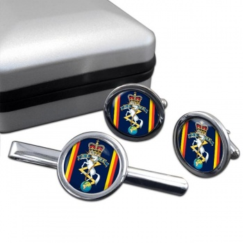 Corps of Royal Electrical and Mechanical Engineers (REME) Round Cufflink and Tie Clip Set