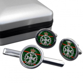 Royal Green Jackets Round Cufflink and Tie Clip Set