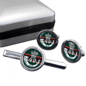 The Rifles (Bugle) British Army Round Cufflink and Tie Clip Set