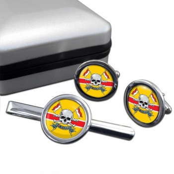Royal Lancers (British Army) Round Cufflink and Tie Clip Set