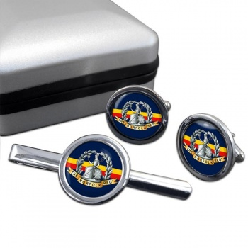 Royal Norfolk Regiment (British Army) Round Cufflink and Tie Clip Set