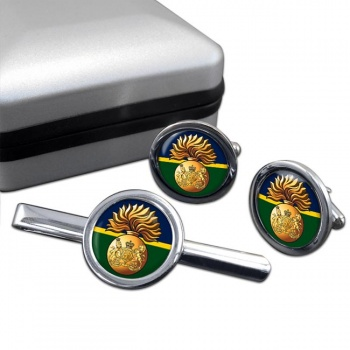 Royal Scots Fusiliers (British Army) Round Cufflink and Tie Clip Set