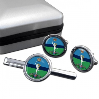 Royal Corps of Signals Round Cufflink and Tie Clip Set