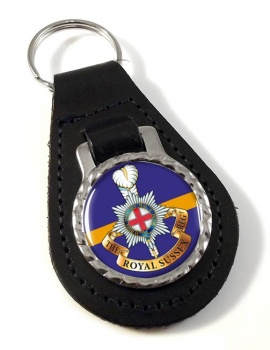 Royal Sussex Regiment (British Army) Leather Key Fob