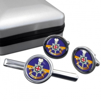 Royal Sussex Regiment (British Army) Round Cufflink and Tie Clip Set