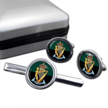 Royal Ulster Rifles (British Army) Round Cufflink and Tie Clip Set