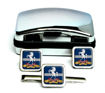 Queen's Own Royal West Kent Regiment (British Army) Square Cufflink and Tie Clip Set