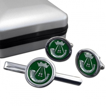 Somerset and Cornwall Light Infantry (British Army) Round Cufflink and Tie Clip Set