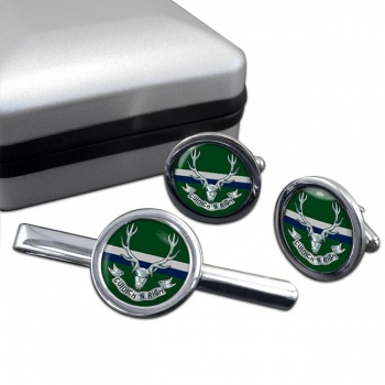 Seaforth Highlanders (British Army) Round Cufflink and Tie Clip Set
