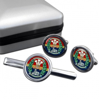 South Lancashire Regiment (British Army) Round Cufflink and Tie Clip Set