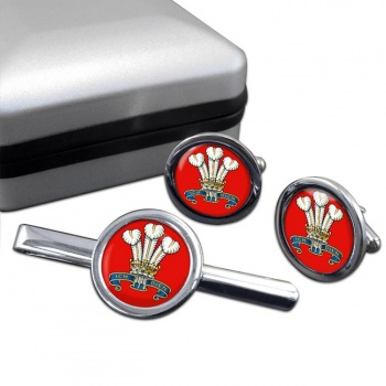 The Prince Of Wales's Division (POW) British Army Round Cufflink and Tie Clip Set