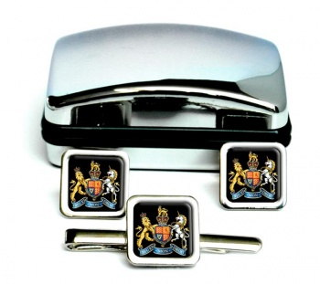 Warrant Officer Square Cufflink and Tie Clip Set