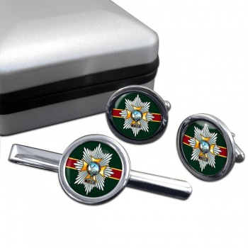 Worcestershire & Sherwood Foresters Regiment Round Cufflink and Tie Clip Set