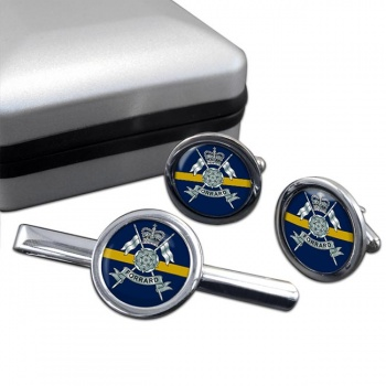 Yorkshire Yeomanry (British Army) Round Cufflink and Tie Clip Set
