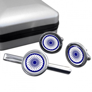 Ashoka Chakra Round Cufflink and Tie Bar Set