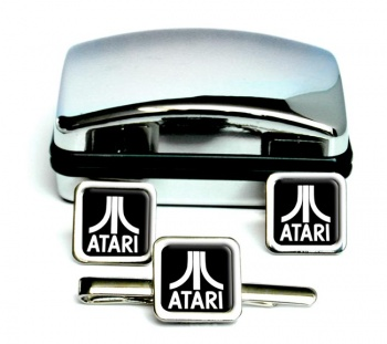 Atari Square Cufflink and Tie Clip Set