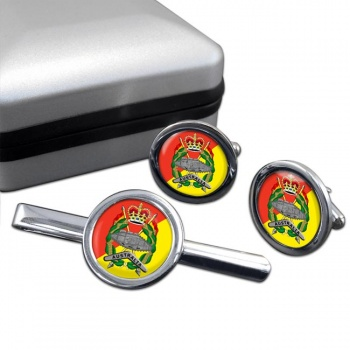 Royal Australian Armoured Corps Round Cufflink and Tie Clip Set