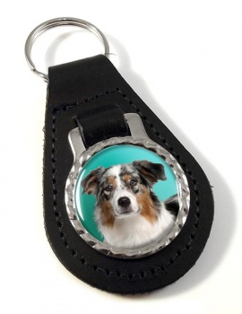 Australian Shepherd Leather Key Fob