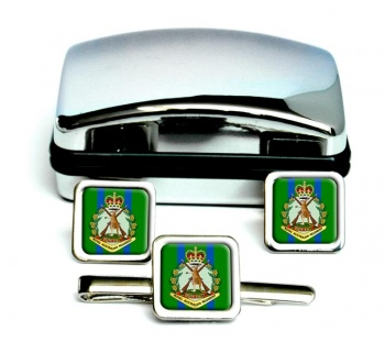 Royal Australian Regiment Square Cufflink abd Tie Clip Set