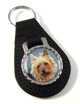 Australian Terrier Leather Key Fob