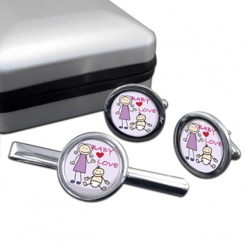 Baby Love Round Cufflink and Tie Clip Sert
