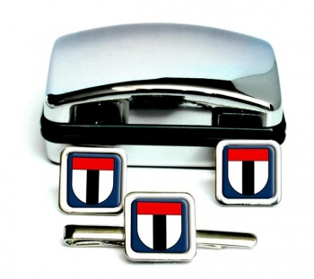 Baden (Switzerland) Square Cufflink and Tie Clip Set