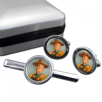 Robert Baden-Powell Round Cufflink and Tie Clip Set