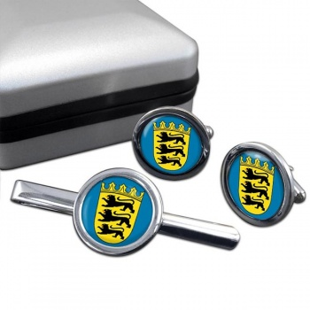 Baden-Wurttemberg (Germany) Round Cufflink and Tie Clip Set