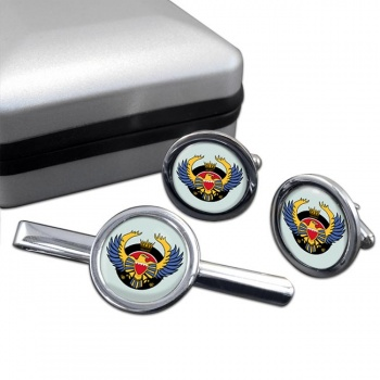 Royal Bahraini Air Force Round Cufflink and Tie Clip Set