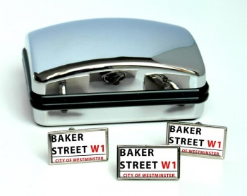 Baker Street Rectangle Cufflink and Tie Pin Set