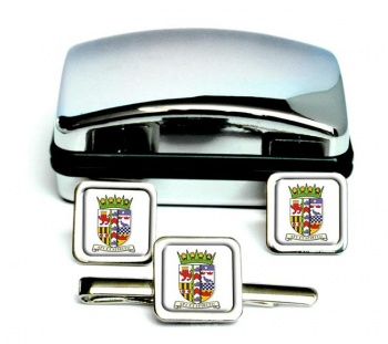 Banffshire (Scotland) Square Cufflink and Tie Clip Set