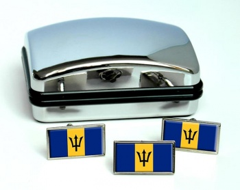 Barbados Flag Cufflink and Tie Pin Set