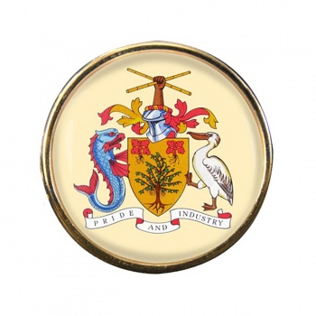 Barbados Round Pin Badge